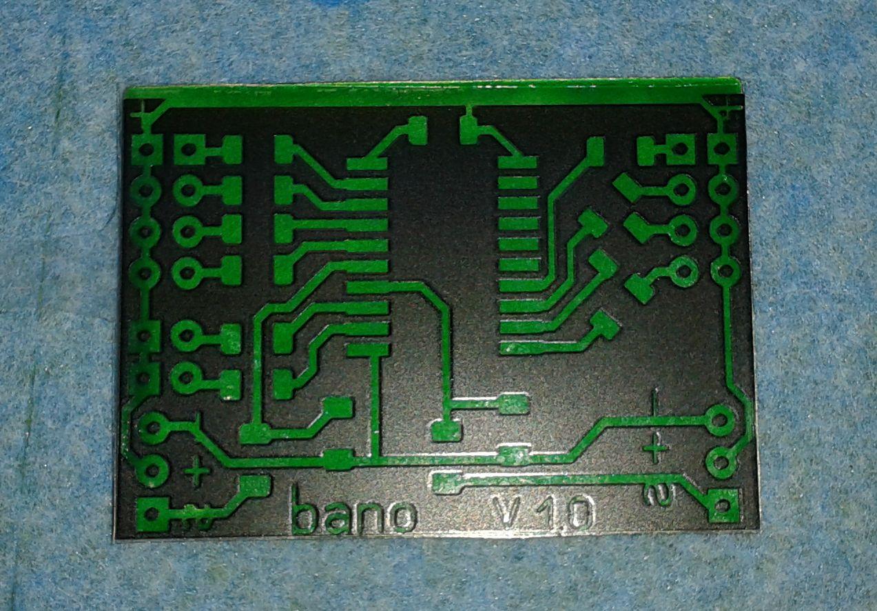 Шаблон Бано поверх платы с маской FSR-8000